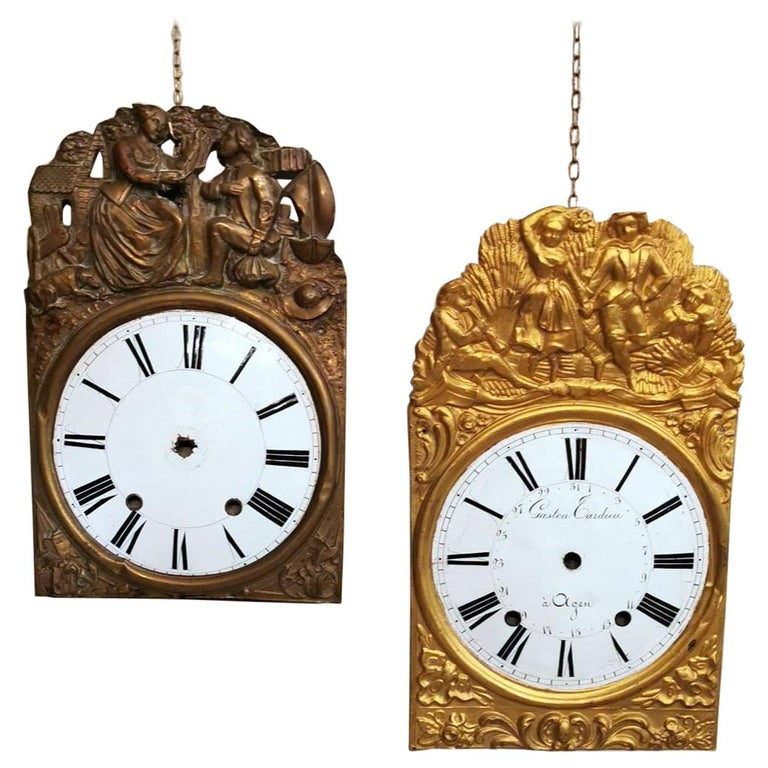 Louis XVI Style Pair of Enameled and Gilded Pediments of French Pendulum Clock For Sale