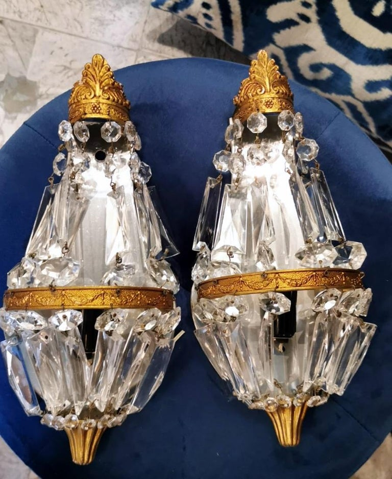 Louis XVI Style Pair of French Balloon Wall Sconces Brass and Crystal For Sale 6