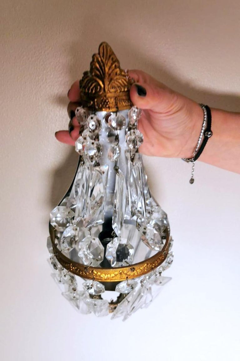 Louis XVI Style Pair of French Balloon Wall Sconces Brass and Crystal For Sale 11