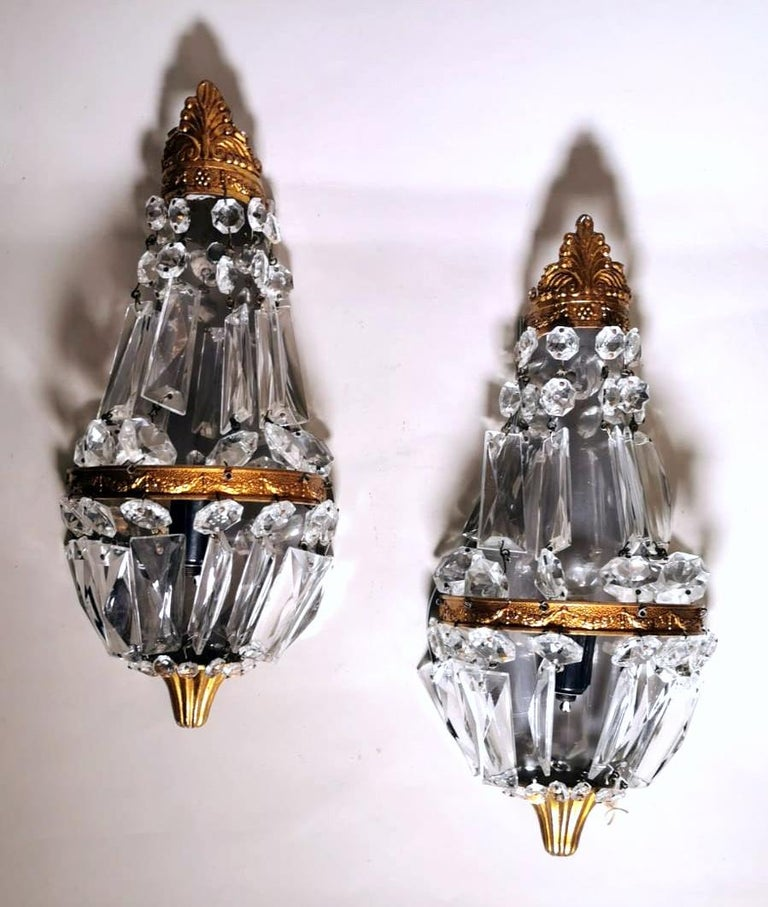 Hand-Carved Louis XVI Style Pair of French Balloon Wall Sconces Brass and Crystal For Sale
