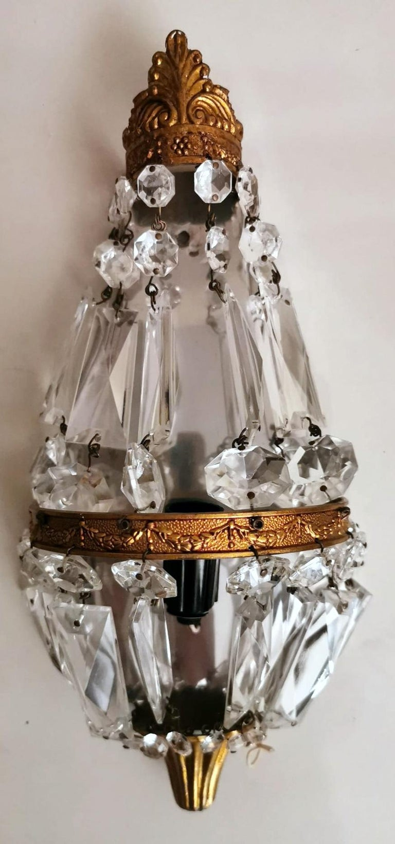 Louis XVI Style Pair of French Balloon Wall Sconces Brass and Crystal For Sale 2