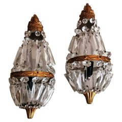 Louis XVI Style Pair of French Balloon Wall Sconces Brass and Crystal