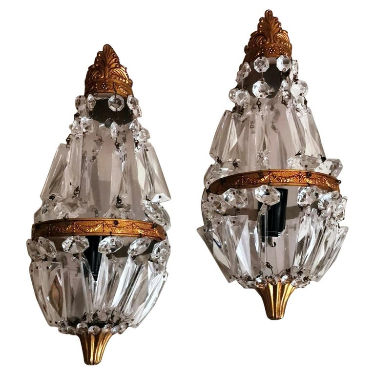Louis XVI Style Pair of French Balloon Wall Sconces Brass and Crystal For Sale