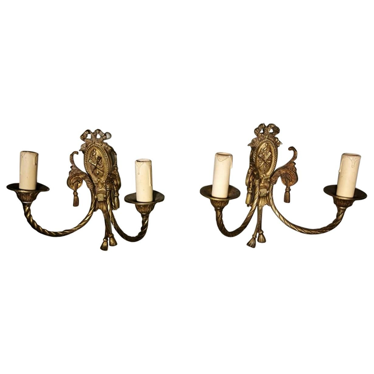 Louis XVI Style Pair of French Wall Sconces in Gilt Bronze