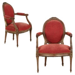 Louis XVI Style Pair of Gray Painted Vintage Fauteuil Armchairs, 20th Century