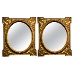 Louis XVI Style Pair of Mirror in Gilt Frames