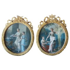 Louis XVI Style Pair of Oval Shaped Pastel Paintings, France
