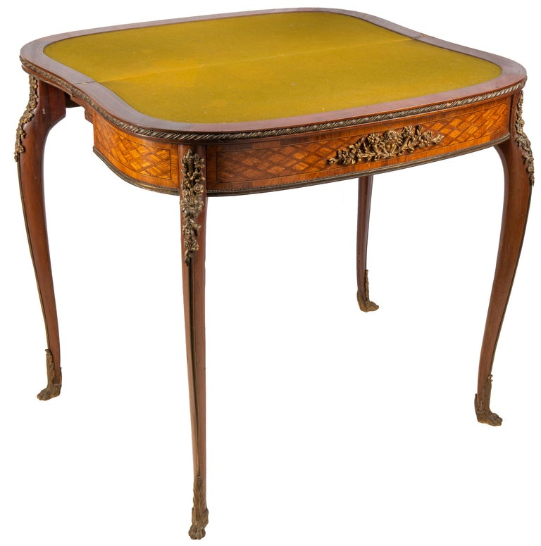 19th Century Louis XVI Style Parquetry Inlaid Card Table, circa 1890 Linke Style For Sale