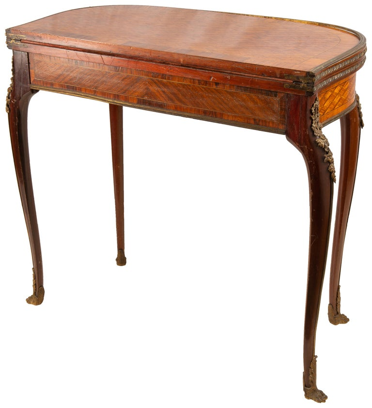 Louis XVI Style Parquetry Inlaid Card Table, circa 1890 Linke Style For Sale 2