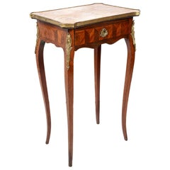 Louis XVI Style Parquetry Inlaid Side Table, 19th Century