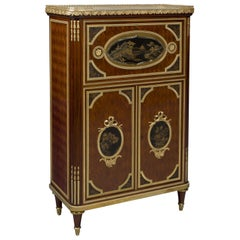 Louis XVI Style Parquetry & Lacquer Mounted Petit Secretaire Cabinet, circa 1890
