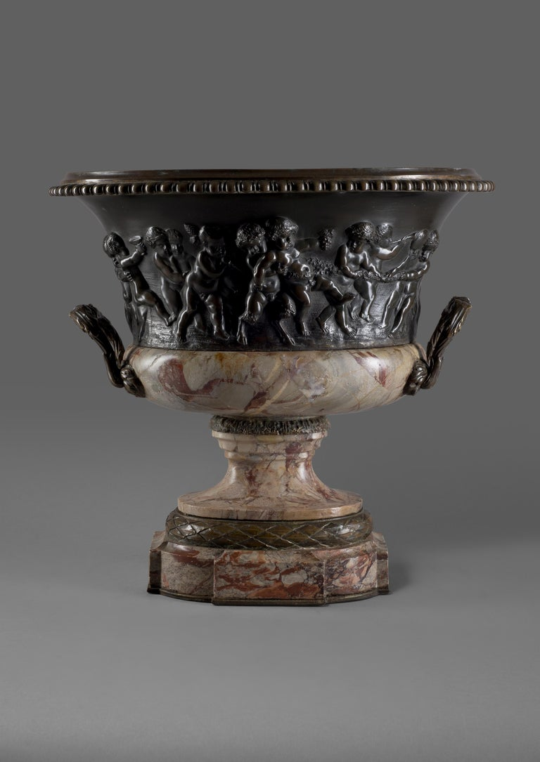 French Louis XVI Style Patinated Bronze and Marble Jardinière after Clodion, circa 1870 For Sale