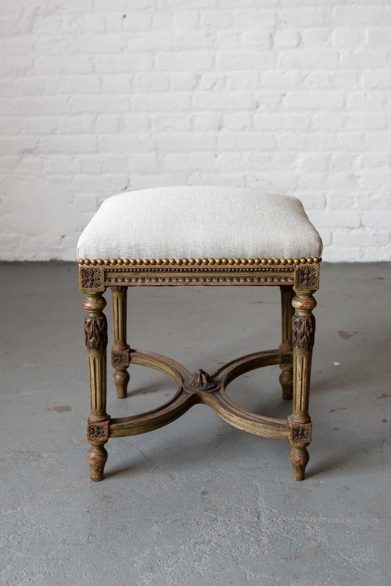 Louis XVI Style Patinated Green Carved Wood Stool For Sale 5