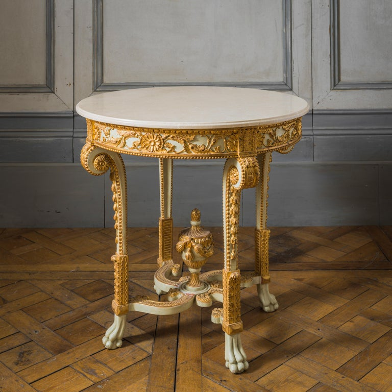 English Louis XVI Style Polychrome Console Table Reproduced by La Maison London For Sale
