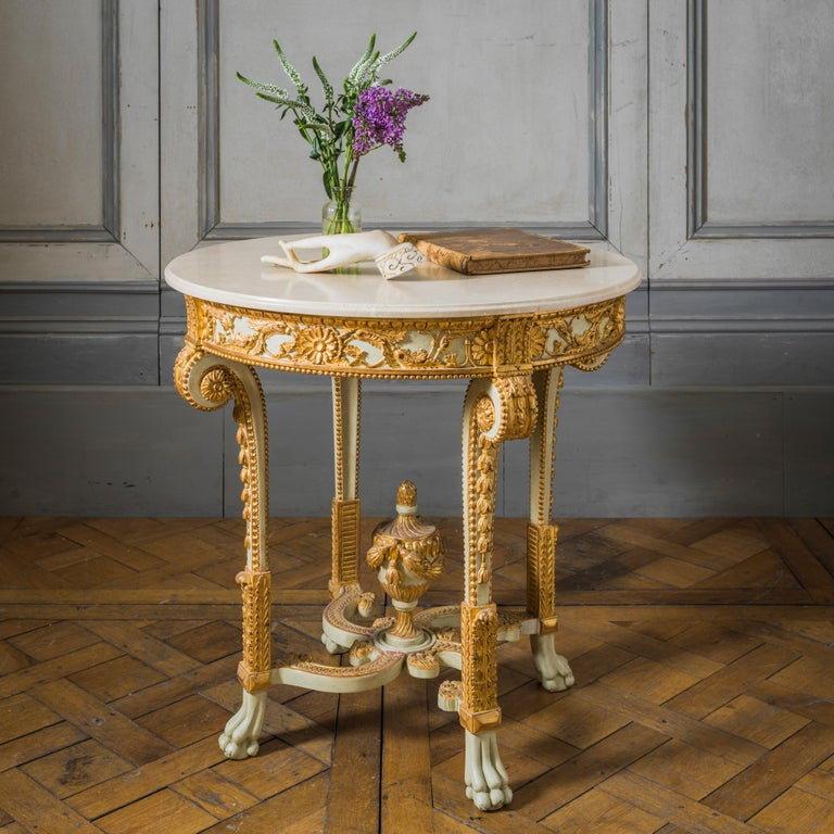 Hand-Carved Louis XVI Style Polychrome Console Table Reproduced by La Maison London For Sale