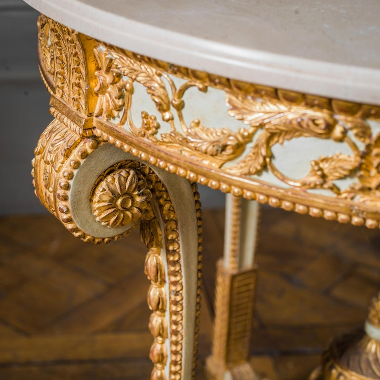 Contemporary Louis XVI Style Polychrome Console Table Reproduced by La Maison London For Sale
