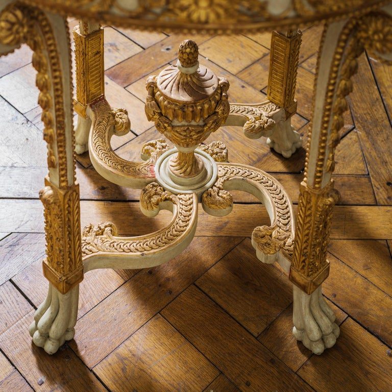 Wood Louis XVI Style Polychrome Console Table Reproduced by La Maison London For Sale