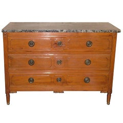 Louis XVI Style Provincial Fruitwood Commode or Chest of Drawers, 19th Century