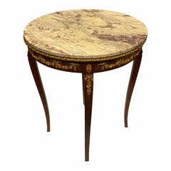 Louis XVI Style Round Marble Top Side Table