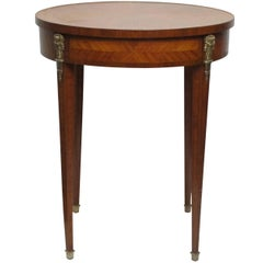 Louis XVI Style Satinwood and Mahogany Cross Banded Bouillotte Table