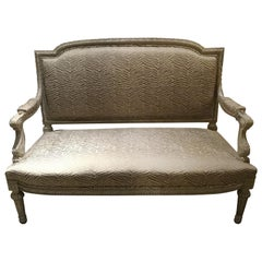 Louis XVI Style Settee/Love Seat, Polychromed with New Upholstery, 19th Century