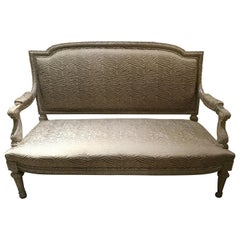 Louis XVI-Style Settee or Loveseat Polychromed with New Upholstery, 19th Century