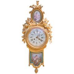 Louis XVI Style Sèvres Porcelain Mounted Cartel Clock and Barometer
