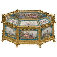 Louis XVI Style Sèvres-Style Porcelain Mounted Octagonal Table Box, circa 1890