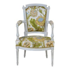 Louis XVI Style Side Armchair with Large Graphic Floral Print White Background