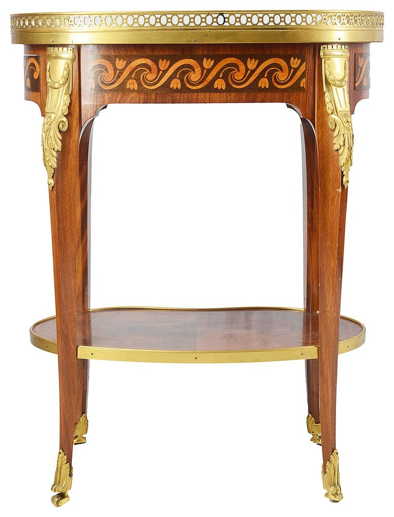 Inlay Louis XVI Style Side Table, 19th Century For Sale