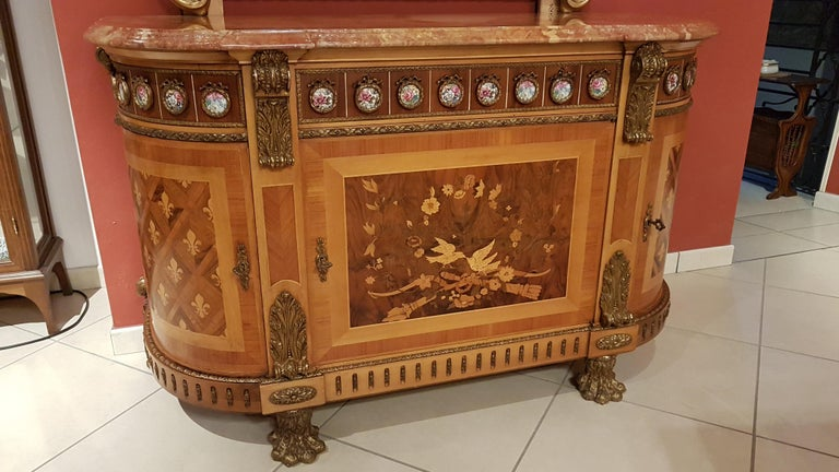 Louis XVI Style Sideboard with Marble Top For Sale 6