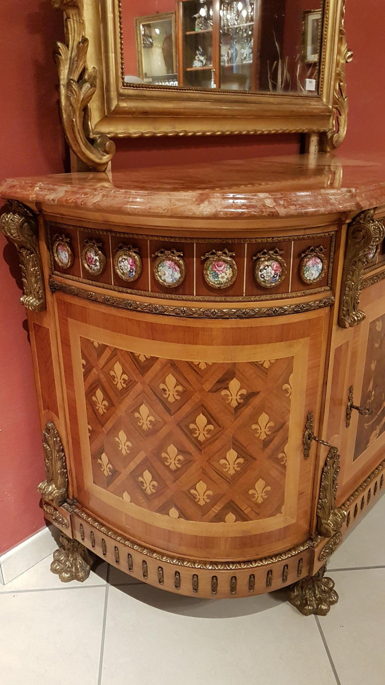 Louis XVI Style Sideboard with Marble Top For Sale 8