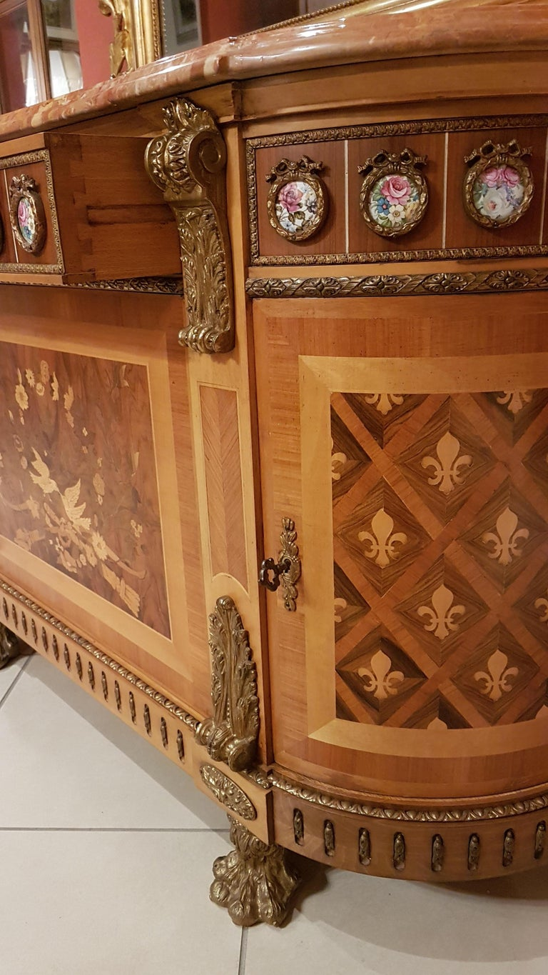 Italian Louis XVI Style Sideboard with Marble Top For Sale