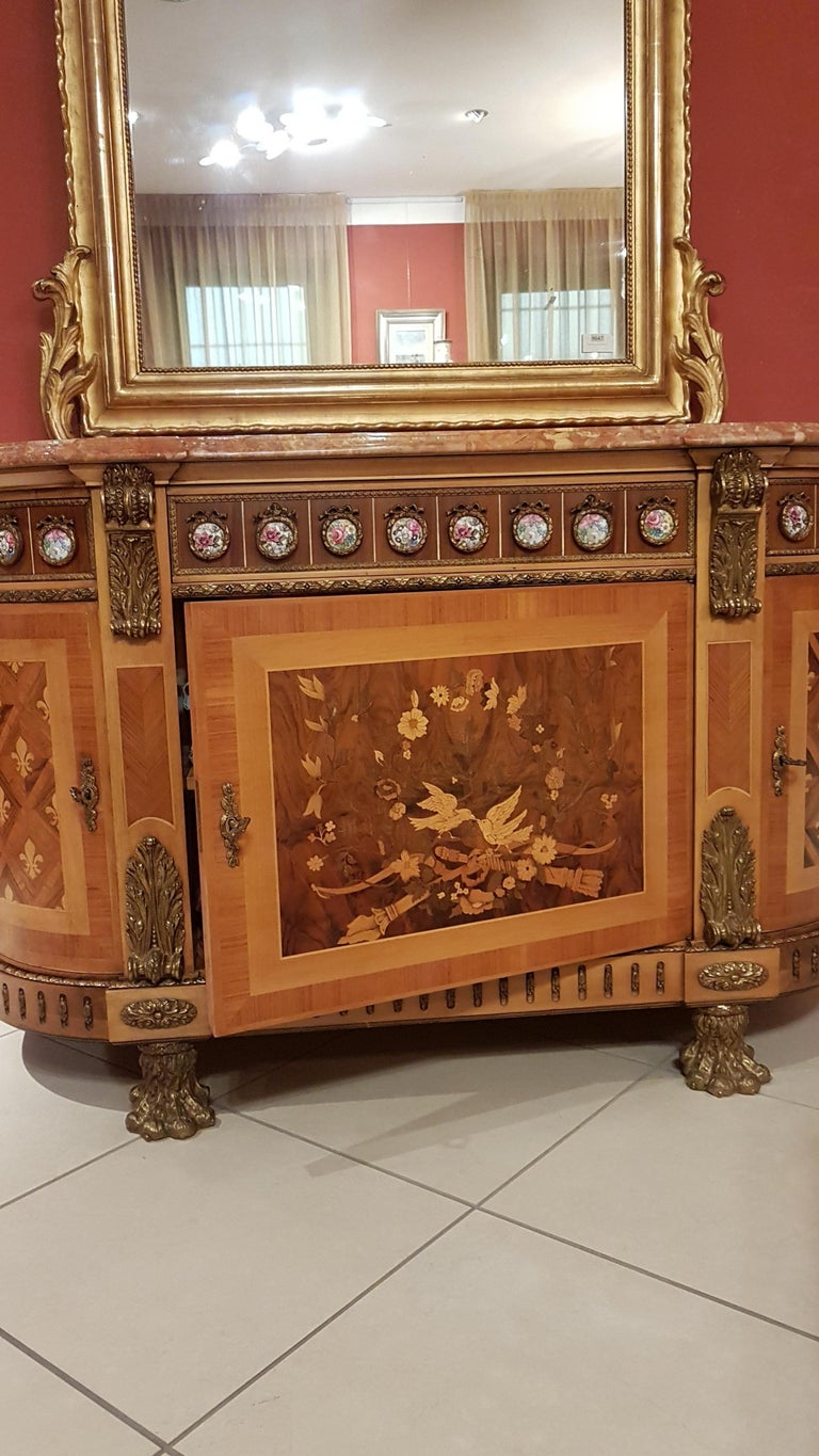 Louis XVI Style Sideboard with Marble Top In Excellent Condition For Sale In Monza, IT