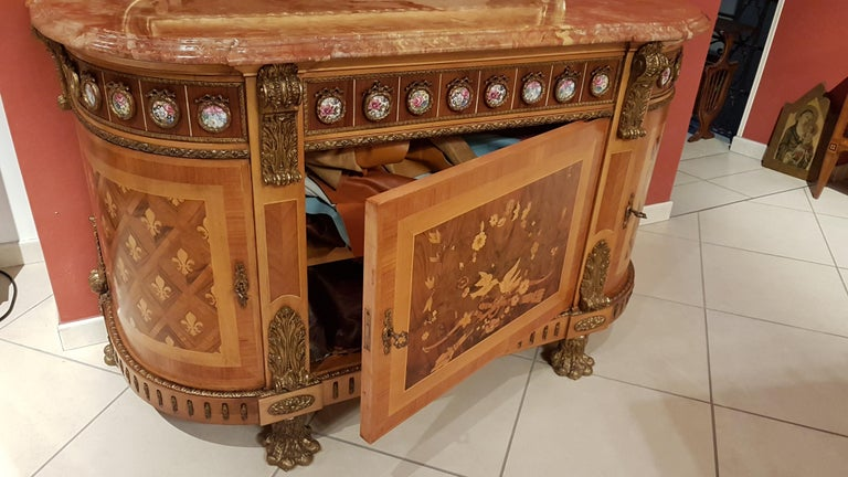 Mid-20th Century Louis XVI Style Sideboard with Marble Top For Sale