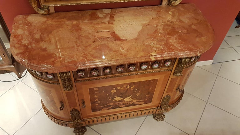 Walnut Louis XVI Style Sideboard with Marble Top For Sale
