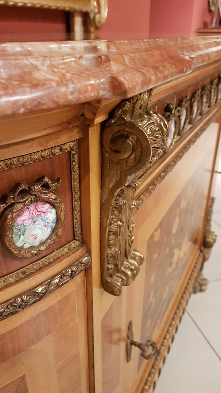 Louis XVI Style Sideboard with Marble Top For Sale 1