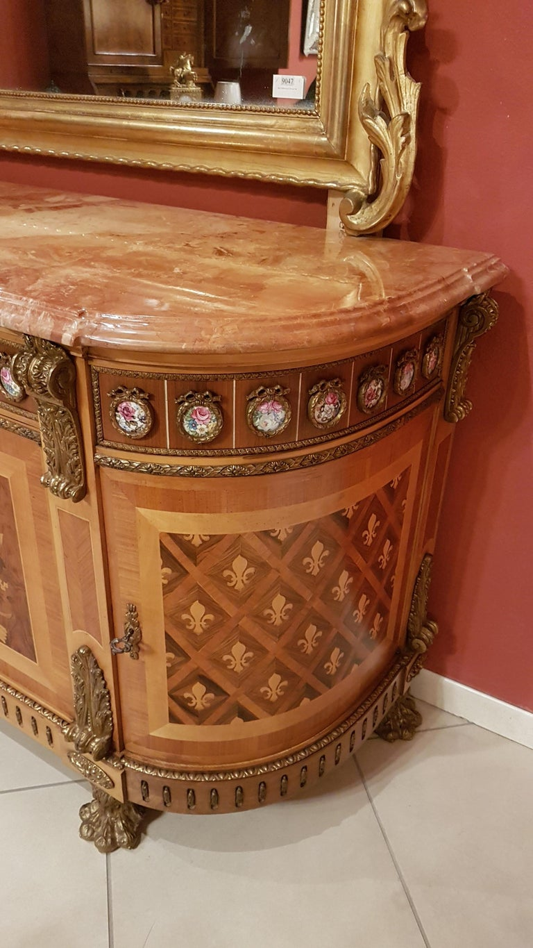 Louis XVI Style Sideboard with Marble Top For Sale 2