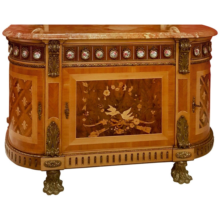 Louis XVI Style Sideboard with Marble Top For Sale
