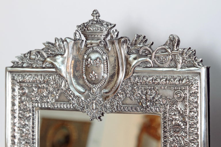 French Louis XVI Style Silver Plated Table Mirror / Frame For Sale