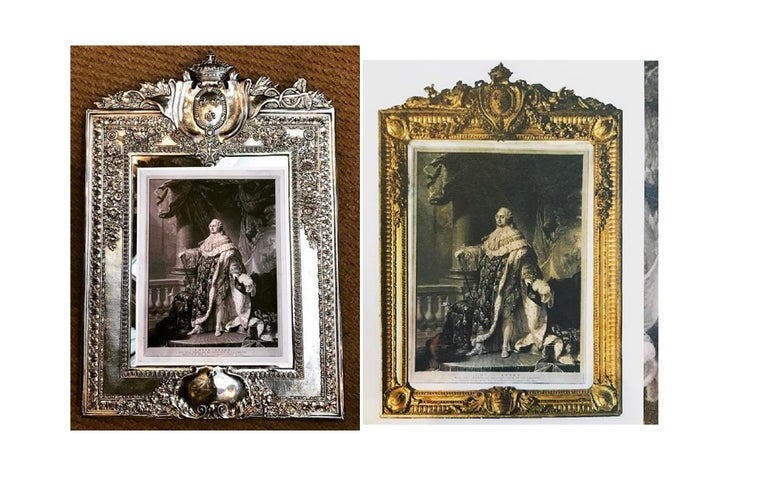 Louis XVI Style Silver Plated Table Mirror / Frame For Sale 3