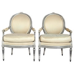 Louis XVI-Style Silvered Fauteuils, Pair