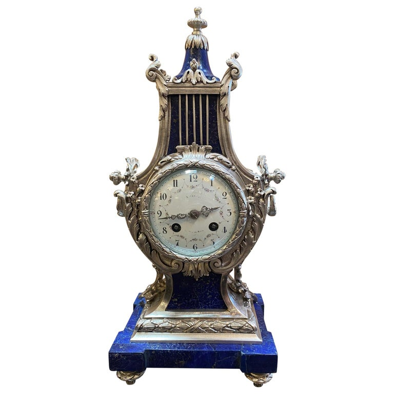 Louis XVI Style Silvered Metal and Lapis Lazuli Mantle Clock by A. For Sale