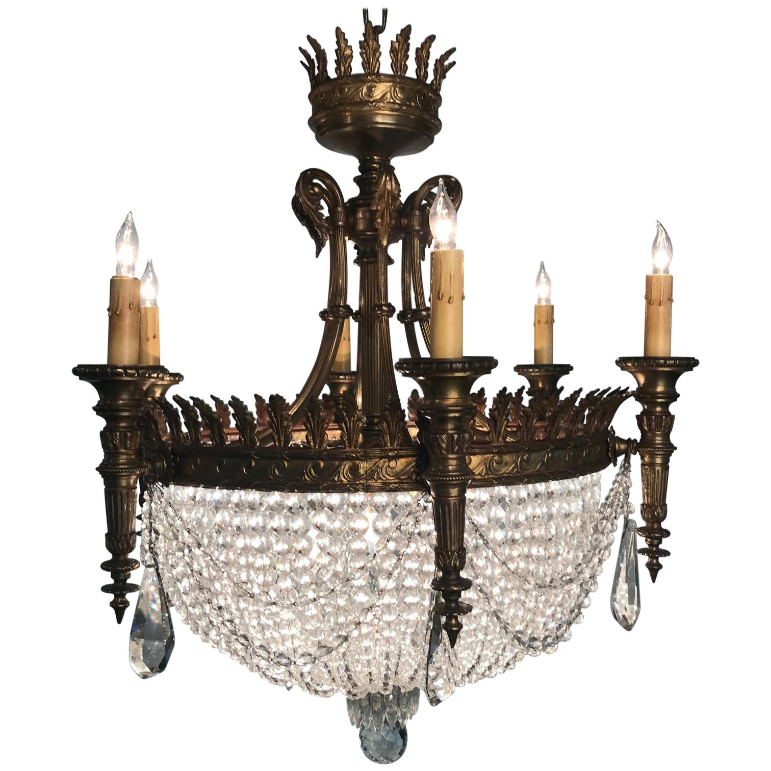 Louis XVI Style Six-Light Basket Chandelier