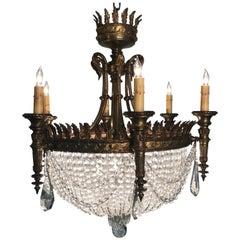 Louis XVI Style Six-Light Basket Chandelier