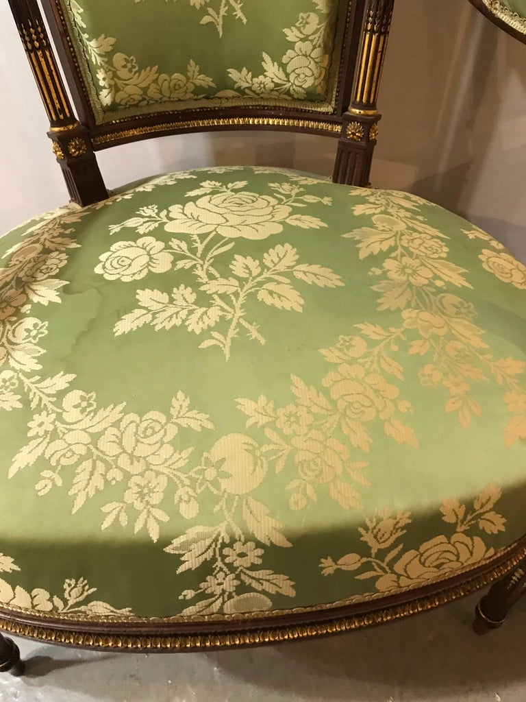 Louis XVI Style Six-Piece Parlor Suite Pair of Arm and Four Side Chairs For Sale 4