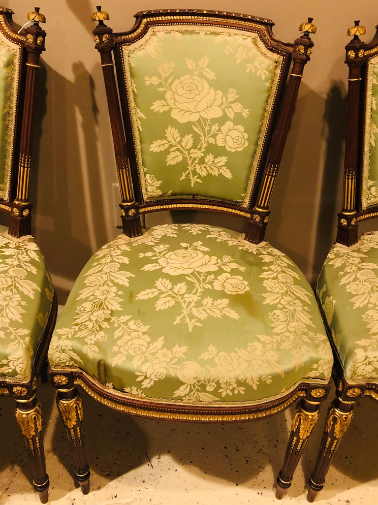 Louis XVI Style Six-Piece Parlor Suite Pair of Arm and Four Side Chairs For Sale 7