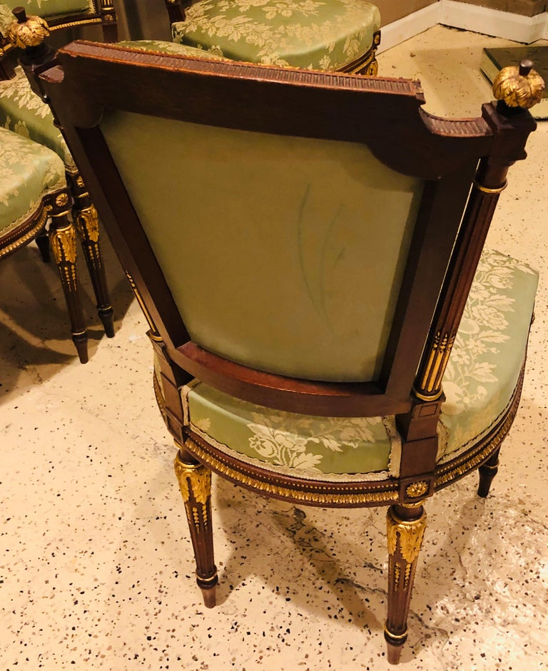 Louis XVI Style Six-Piece Parlor Suite Pair of Arm and Four Side Chairs For Sale 8
