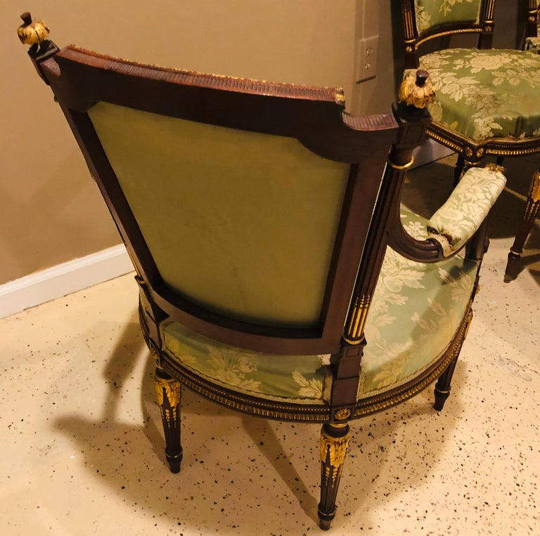 Louis XVI Style Six-Piece Parlor Suite Pair of Arm and Four Side Chairs For Sale 9