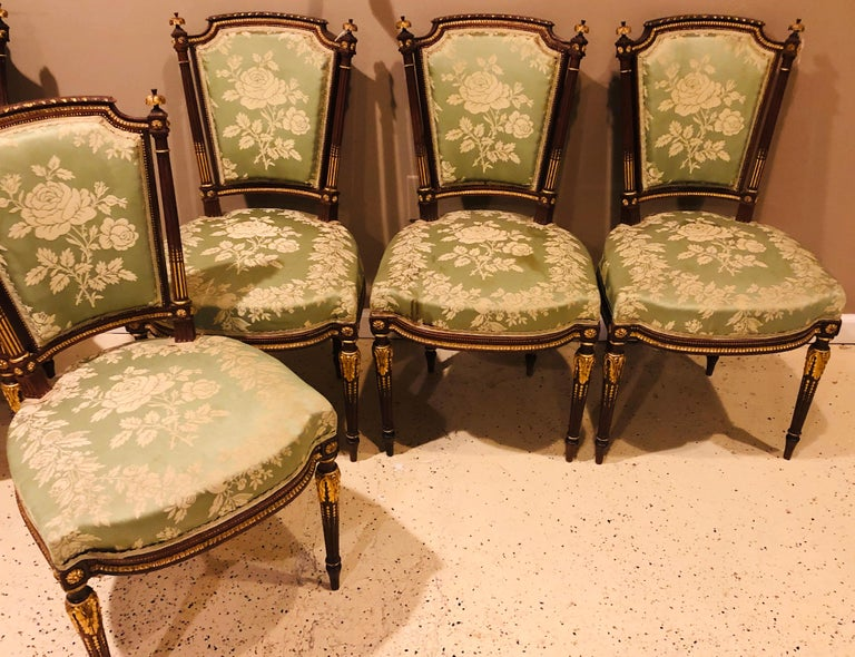 French Louis XVI Style Six-Piece Parlor Suite Pair of Arm and Four Side Chairs For Sale